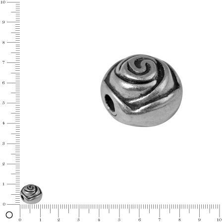 Perle bouton de rose Ø 11 mm - Argenté vieilli