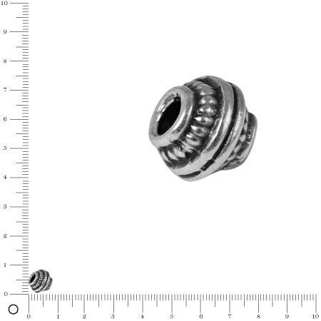 Perle cercles concentriques Ø 7 mm - Argenté vieilli