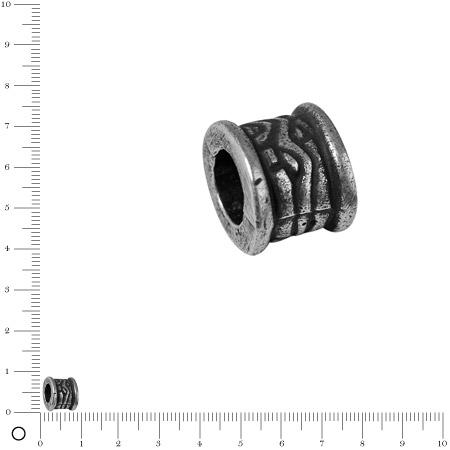 Perle cylindrique Ø 8 mm - Argenté vieilli