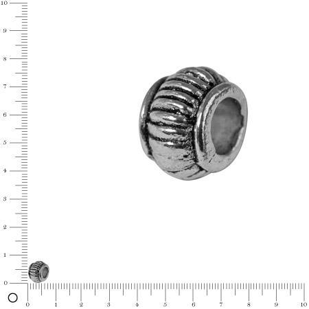 Perle cylindrique striée Ø 7 mm - Argenté vieilli