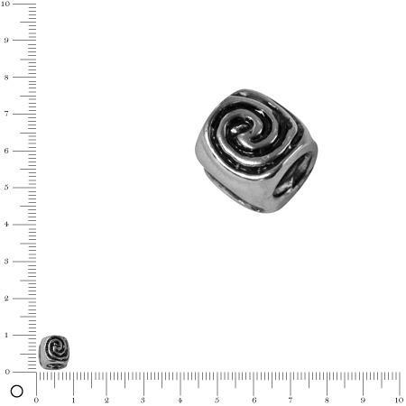 Perle cylindrique spirale Ø 8 mm - Argenté vieilli