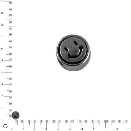 Perle Smiley Ø 7 mm - Argenté vieilli