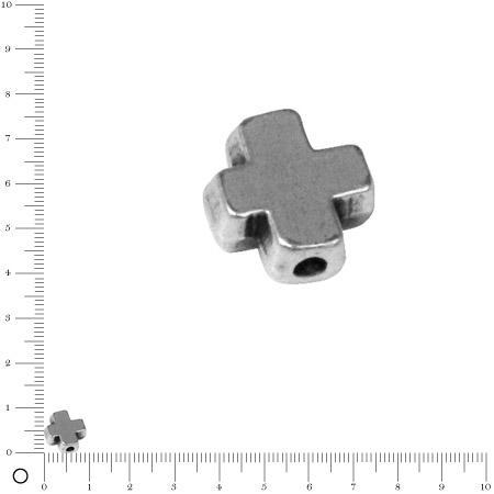 Perle croix L. 9 mm - Argenté vieilli