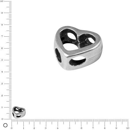 Perle en métal évidé Cœur L. 11 mm - Argenté vieilli