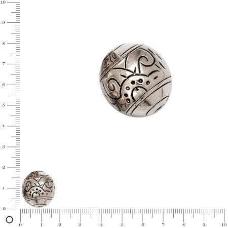 Perle façon métal motifs gravés Ø 19 mm - Argenté vieilli