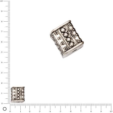 Perle façon métal motifs pois - 13 x 16 mm - Argenté vieilli