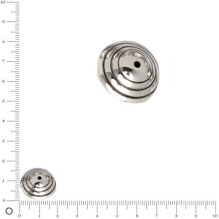 Perle façon métal motif escargot PM Ø 20 mm - Argenté vieilli