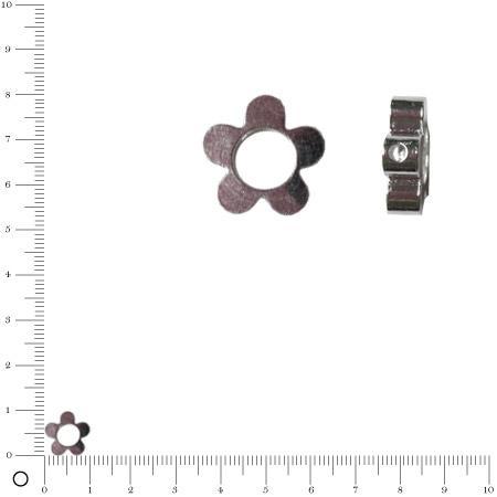 Perle fleur Ø 10 mm - Argenté