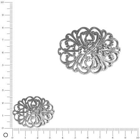 Perle filigranée ovale L. 33 mm - Argenté