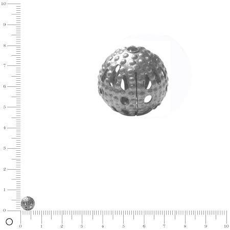 Perle filigranée Ø 8 mm - Argenté vieilli