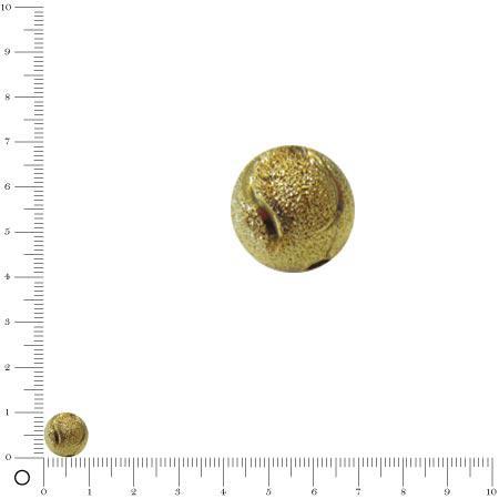 Perle granulée avec motif - Ø 10 mm - Doré