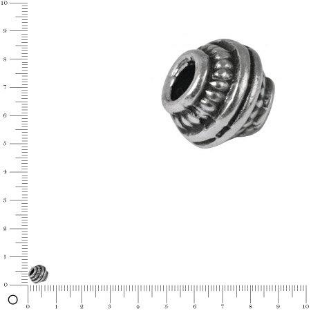 Perle en métal - argent vieilli - 7 mm - 3 pcs
