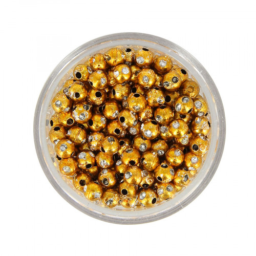 Boîte de perles en métal à strass - Orange cuivré - Ø 4 mm