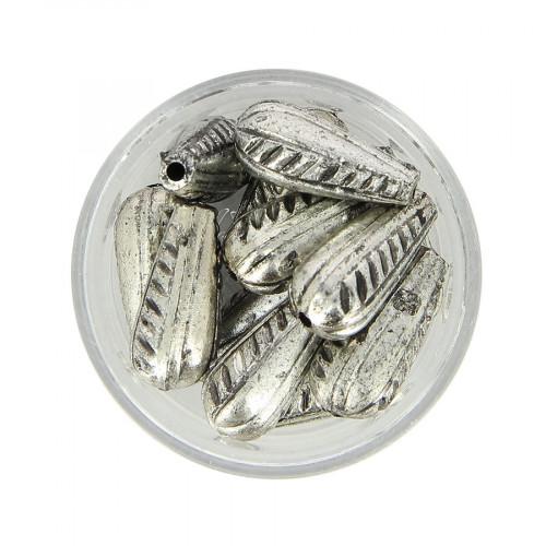 Boîte de perles en métal - Argent - 19 x 9 mm