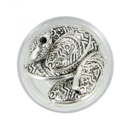 Boîte de perles en métal - Argent - 22 x 14 mm