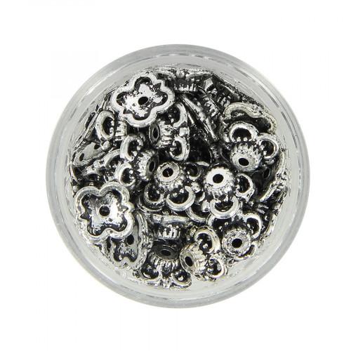 Boîte de perles en métal - Argent - 9 x 9 mm
