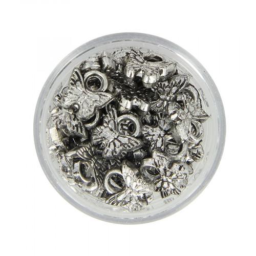 Boîte de perles papillon en métal - Argent - 10 x 10 mm