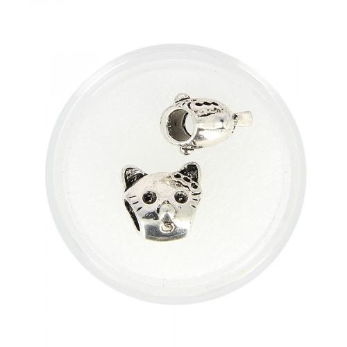 Boîte de 2 perles chat - Argent - 12 x 11 mm