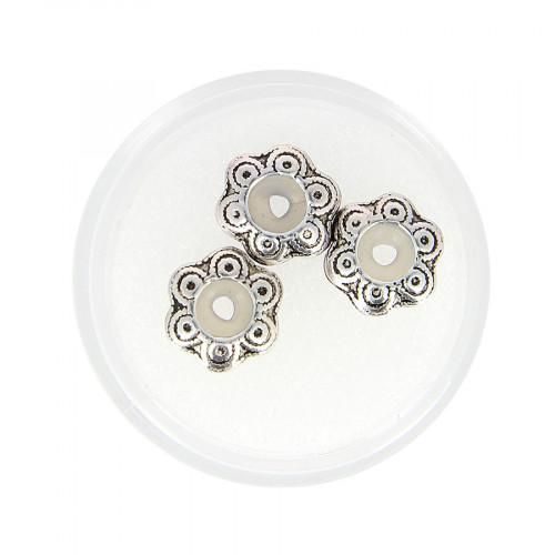 Boîte de 3 perles fleur - Argent - Ø 12 mm
