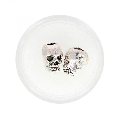 Boîte de 2 perles tête de mort - Argent - 12 x 9 mm