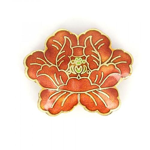 Perle fleur en métal - Orange rouge - 30 x 37 mm