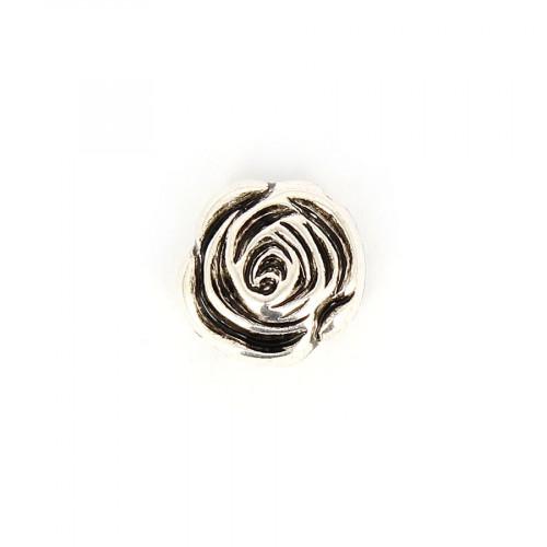 Perle fleur aplatie en résine - Argent vieilli - 16 x 16 mm