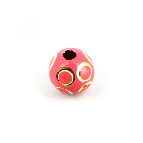 Perle opaque cercles relief ronde en métal - Rose fuchsia et or - 10 mm