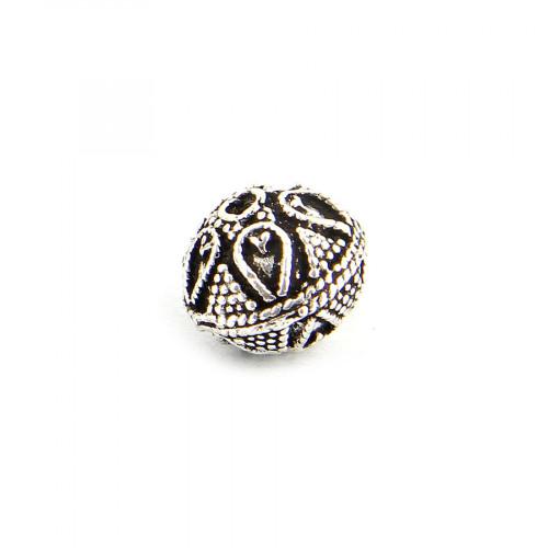 Perle ronde à gravures en métal - Argent - 15 mm