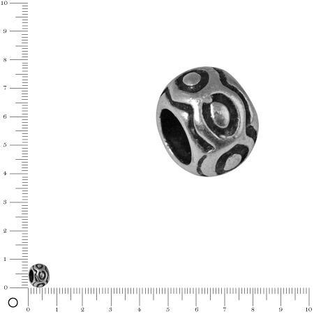 Perle petits ronds Ø 8 mm - Argenté vieilli