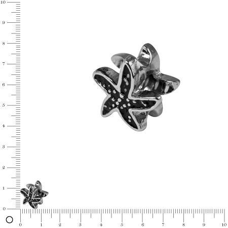 Perle métal Étoile de mer L. 12mm - Argenté vieilli
