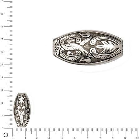 Perle tube façon métal motif arabesques - 14 x 27 mm - Argenté vieilli