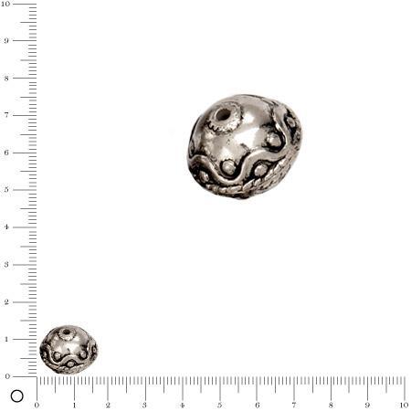 Perle façon métal motif vague Ø 18 mm - Argenté vieilli