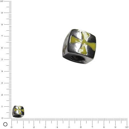Perle métal façon Pandora pour bracelet/collier maille serpent Cube croix de malte L. 10 mm - Argenté vieilli