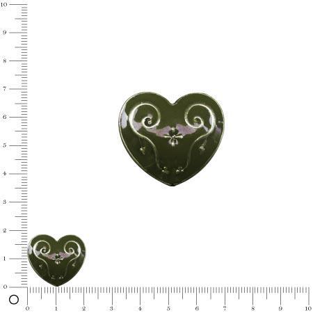 Perle métal cœur émaillé L. 21 mm - Vert kaki