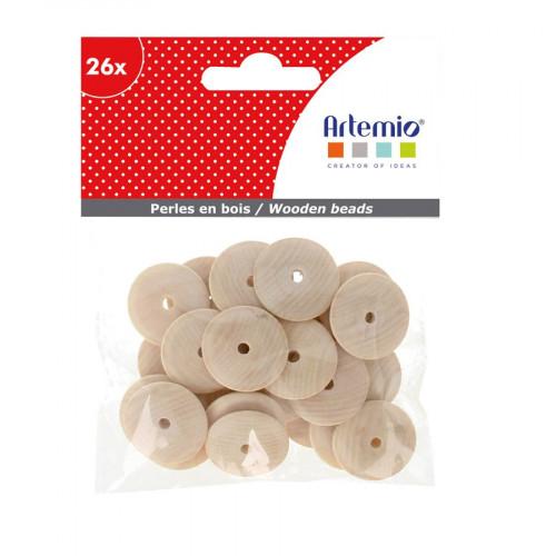Perles en bois - rondelle - 2 x 2 cm - 26 pcs