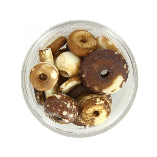 Boîte de perles différentes formes tachetées - Marron - 10 à 25 mm