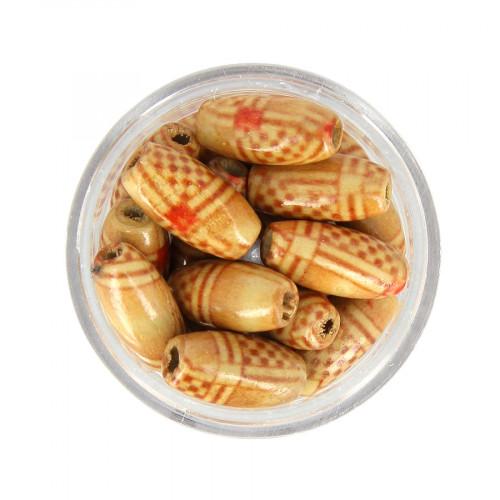 Boîte de perles à motifs ethniques - Rouge - 15 x 7 mm