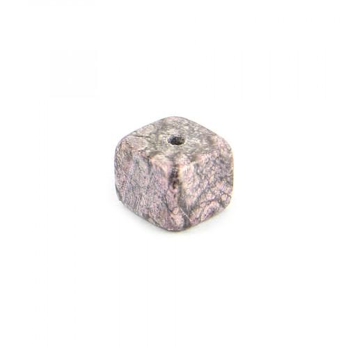 Perle cube pierre marbrée - Rose et noir - 9 x 9 mm