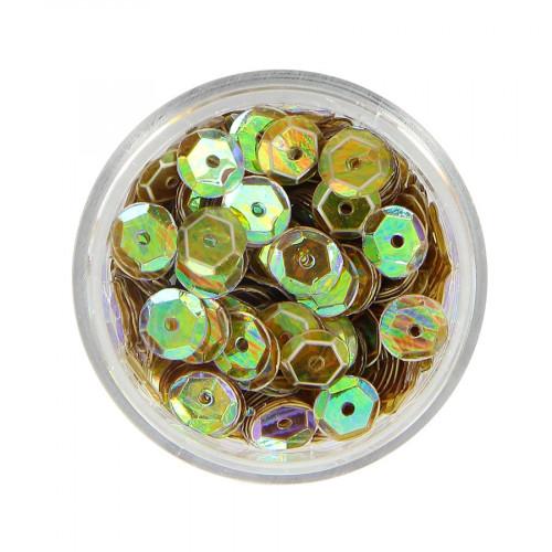Boîte de perles sequins bombés - Jaune vert à reflets multicolore - Ø 7 mm