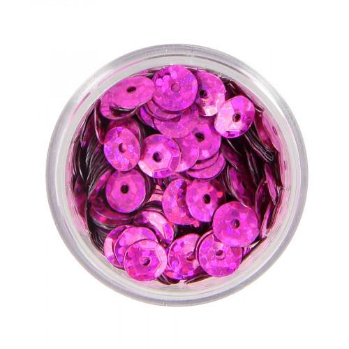 Boîte de perles sequins bombés - Violet magenta à reflets multicolore - Ø 7 mm