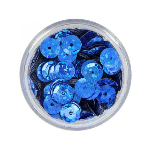 Boîte de perles sequins bombés - Bleu à reflets multicolore - Ø 7 mm