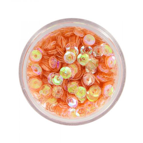 Boîte de perles sequins bombés - Orange à reflets multicolore - Ø 5 mm