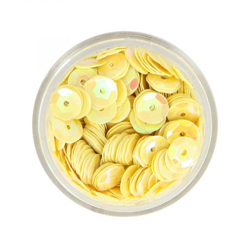 Boîte de perles sequins bombés - Jaune à reflets multicolore - Ø 7 mm