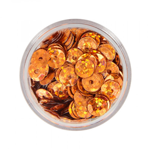 Boîte de perles sequins bombés - Orange à reflets multicolore - Ø 7 mm