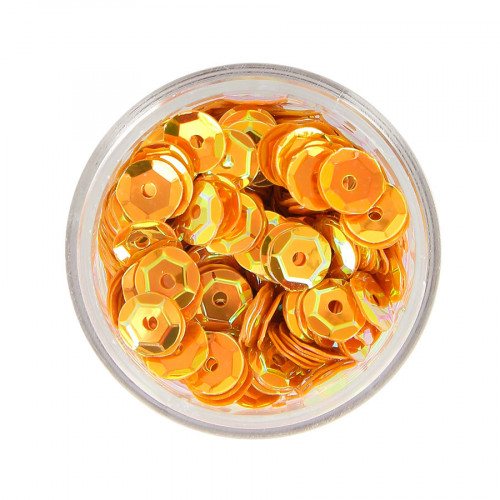 Boîte de perles sequins - Orange à reflets jaune - Ø 7 mm
