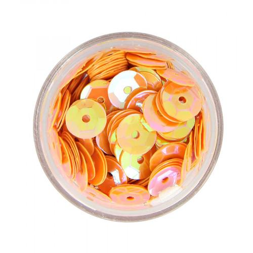 Boîte de perles sequins bombés - Orange à reflets multicolore - Ø 8,5 mm