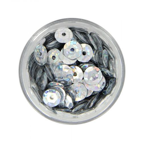 Boîte de perles sequins bombés - Argent à reflets multicolore - Ø 7 mm