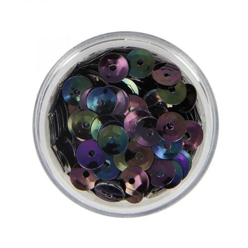 Boîte de perles sequins - Noir à reflets multicolore - Ø 6,5 mm