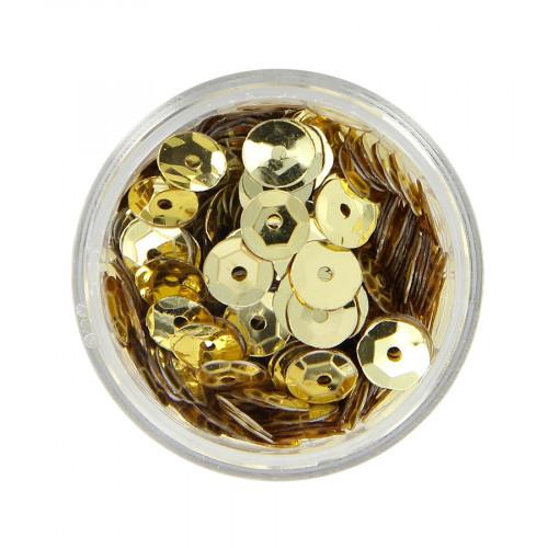 Boîte de perles à strass bombés - Jaune beige brillant - Ø 7 mm