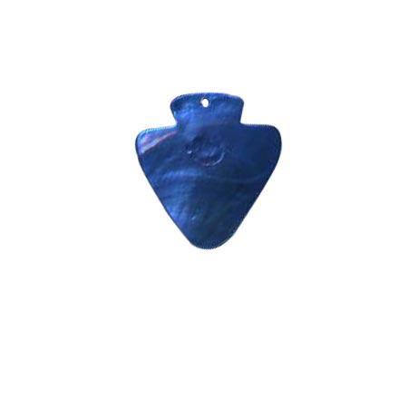 Sequins de nacre écusson x 2 - 36 x 34 mm - bleu col 6412